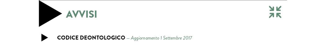 CODICE DEONTOLOGICO — Aggiornamento 28 Giugno 2017