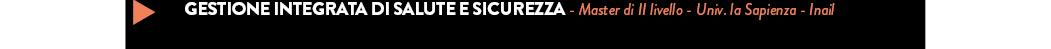 GESTIONE INTEGRATA DI SALUTE E SICUREZZA - Master di II livello - Univ. la Sapienza - Inail