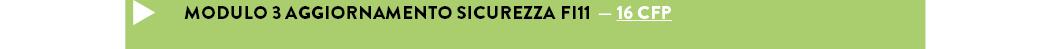 MODULO 3 AGGIORNAMENTO SICUREZZA FI11  — 16 cfp