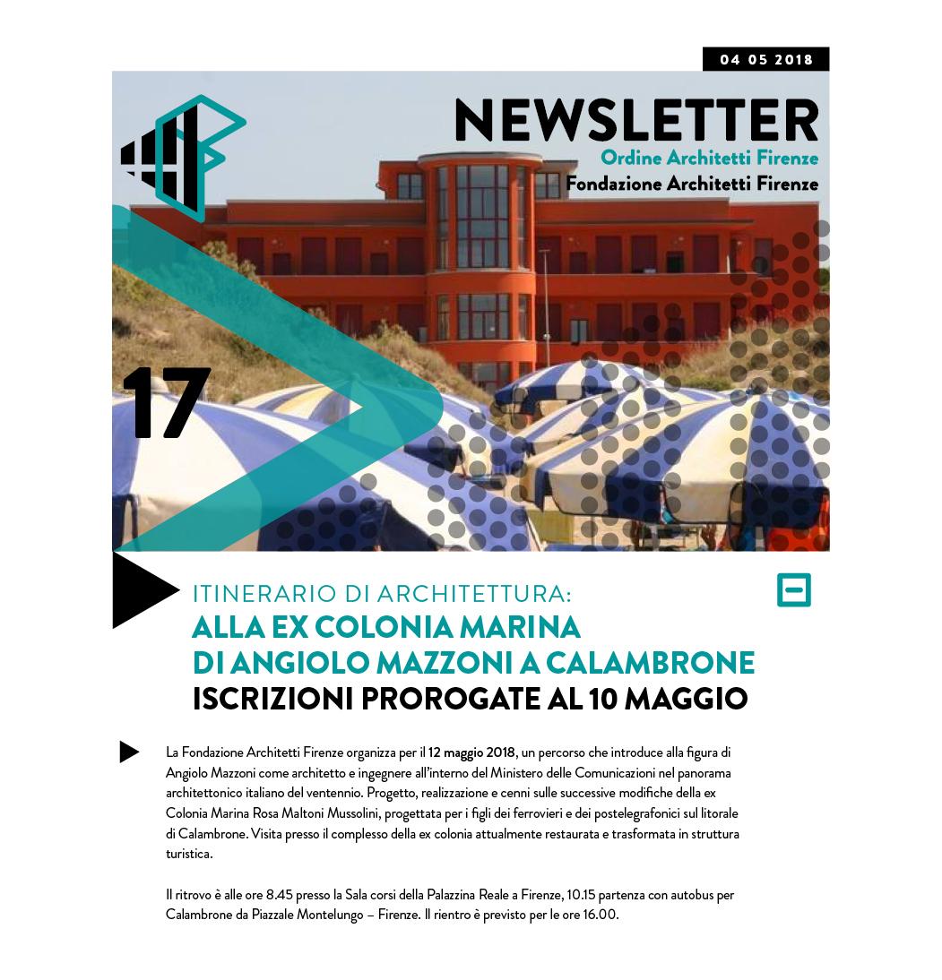 ITINERARIO DI ARCHITETTURA: ALLA EX COLONIA MARINA di Angiolo Mazzoni A CALAMBRONE ISCRIZIONI PROROGate al 10 maggio