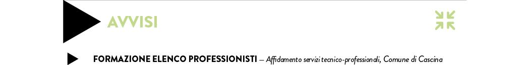 FORMAZIONE ELENCO PROFESSIONISTI — Affidamento servizi tecnico-professionali, Comune di Cascina
