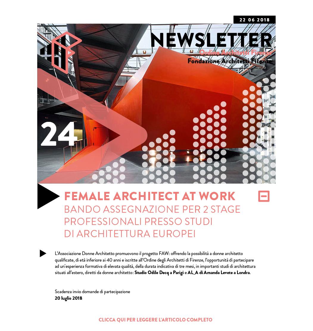 FEMALE ARCHITECT AT WORK BANDO ASSEGNAZIONE PER 2 STAGE PROFESSIONALI PRESSO STUDI DI ARCHITETTURA EUROPEI