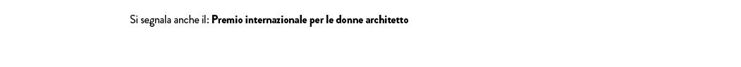 Premio internazionale per le donne architetto