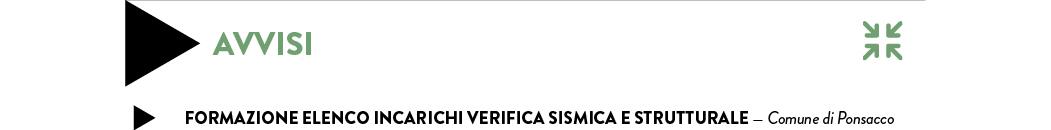 FORMazione ELENCO INCARICHI VERIFICA SISMICA E STRUTTURALE — Comune di Ponsacco