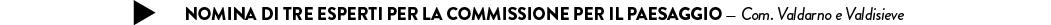 nomina di tre esperti per la Commissione per il Paesaggio — Com. Valdarno e Valdisieve