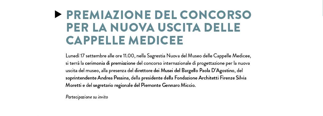 Premiazione del concorso per la nuova uscita delle Cappelle Medicee